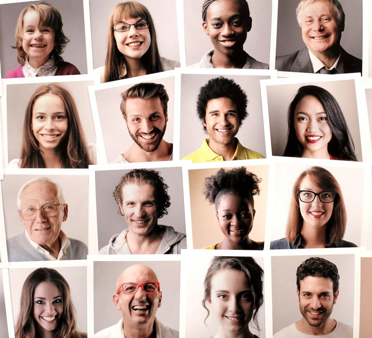 Grid Of Portraits Of Diverse Set Of People